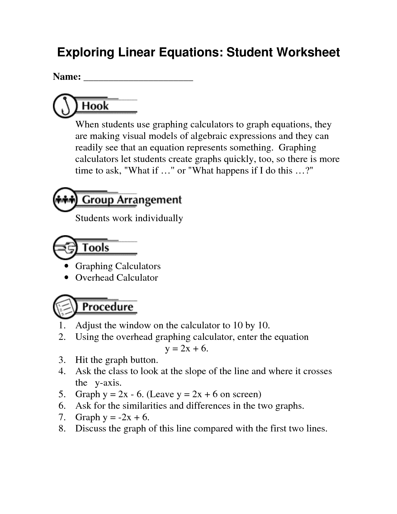 Graphing Linear Equations Worksheet Gina Wilson