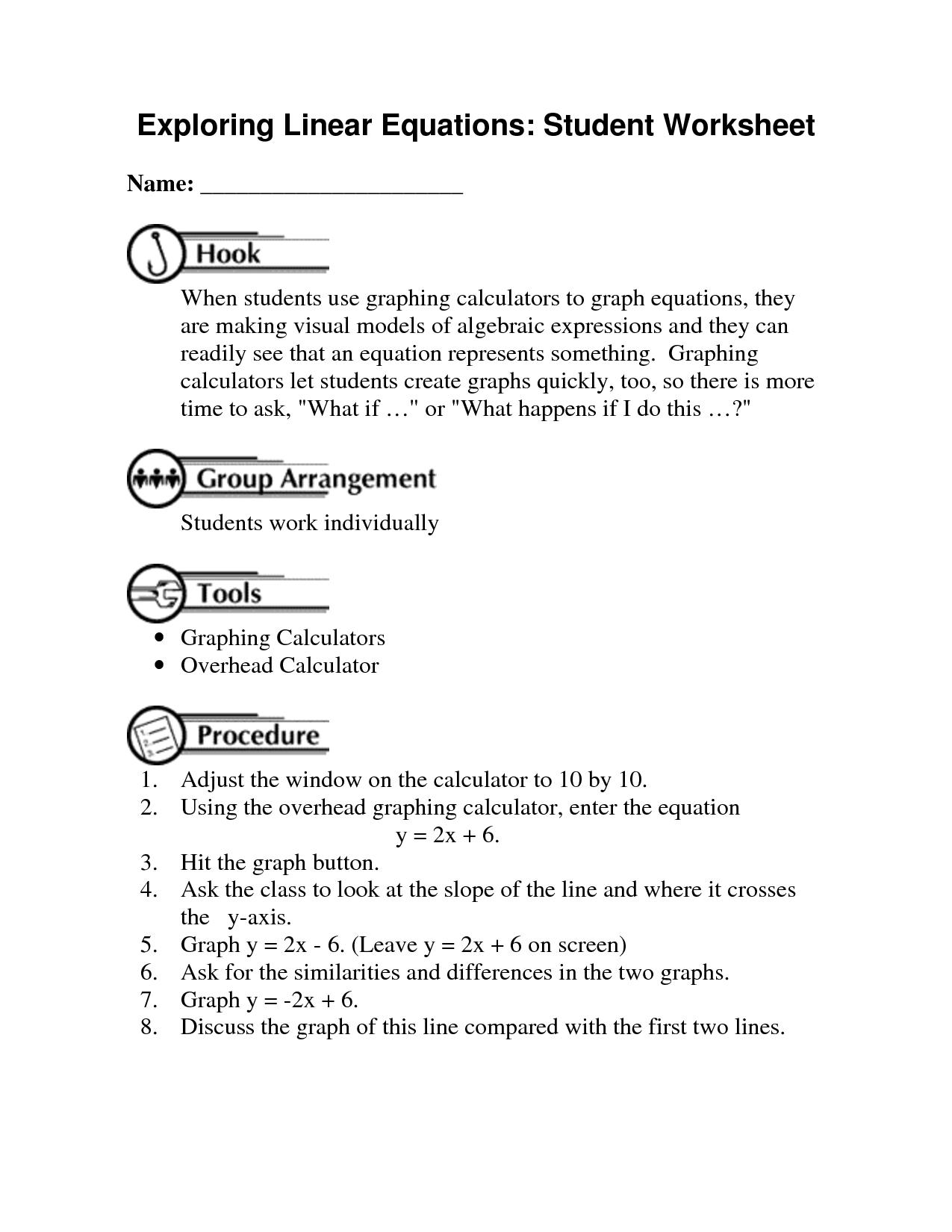 algebraic equations chart | exploring linear equations student