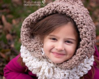CROCHET PATTERN Hooded Cowl, Button Neck Warmer, Crochet ...