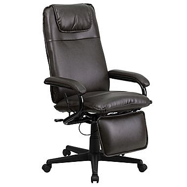 office chair with adjustable arms selig eames and ottoman flash furniture high back leather executive brown staples