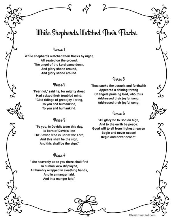 Free printable lyrics While Shepherds Watched Their Flocks