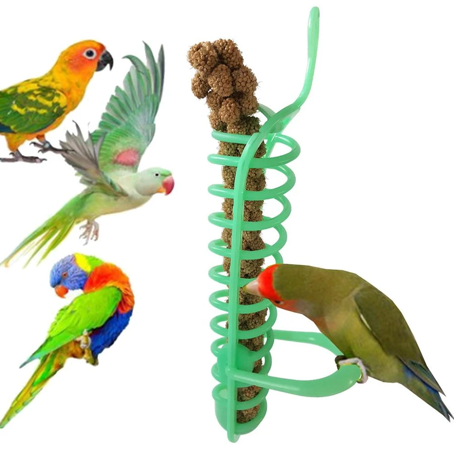 Millet Spray Is A Wonderful Treat For Your Birds But The Mess Not So Much This Millet Spray Holder Is Designed To Be Su Cockatiel Cage Parrot Pet Parrot Toys