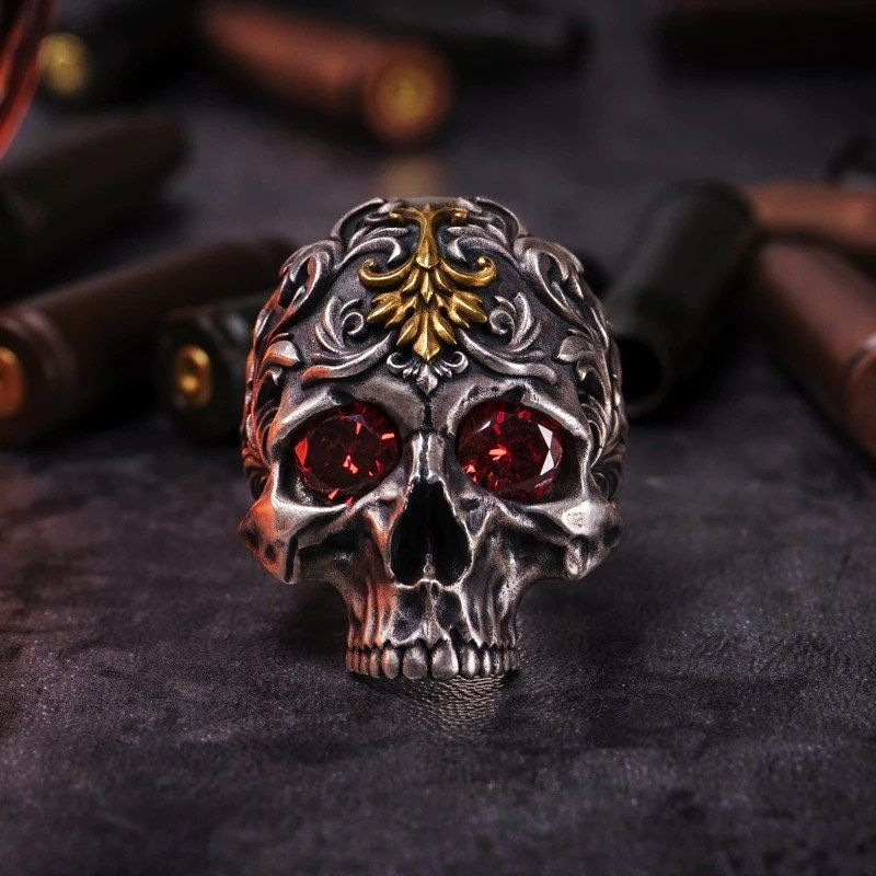 Vintage Gothic Pattern Skull Ring, Fire God Red Eye Demon Ring for Men, High-Quality Ring, Handmade Jewelry, Ring for Men I am very glad to see you in our store! Our store sells only high-quality goods! We are based on the sale of jewelry such as necklaces, earrings. There is also such jewelry as bracelets, ankle bracelets, rings. We try to fully satisfy our customers and keep in touch with them from start to finish! Delivery time varies, but generally, it is about 7-15 days. If you have any que