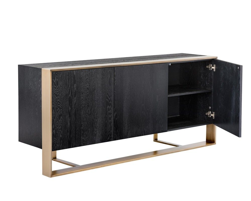 DALTON SIDEBOARD | ANTIQUE BRASS | BLACK | A distinctly modern and sophisticated sideboard from our Club Collection. Made from German oak veneer in a black finish with a stunning brushed antique brass steel frame. A true show piece suitable for both contract and residential spaces.