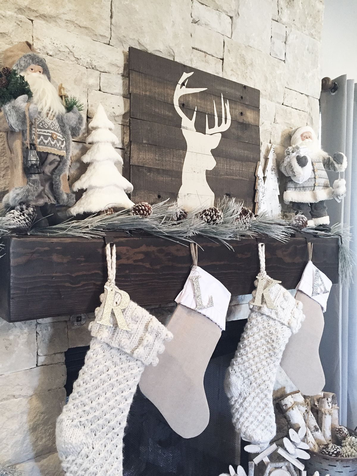 Rustic Farmhouse Christmas Mantel Tree Decor - Neutral Christmas ...