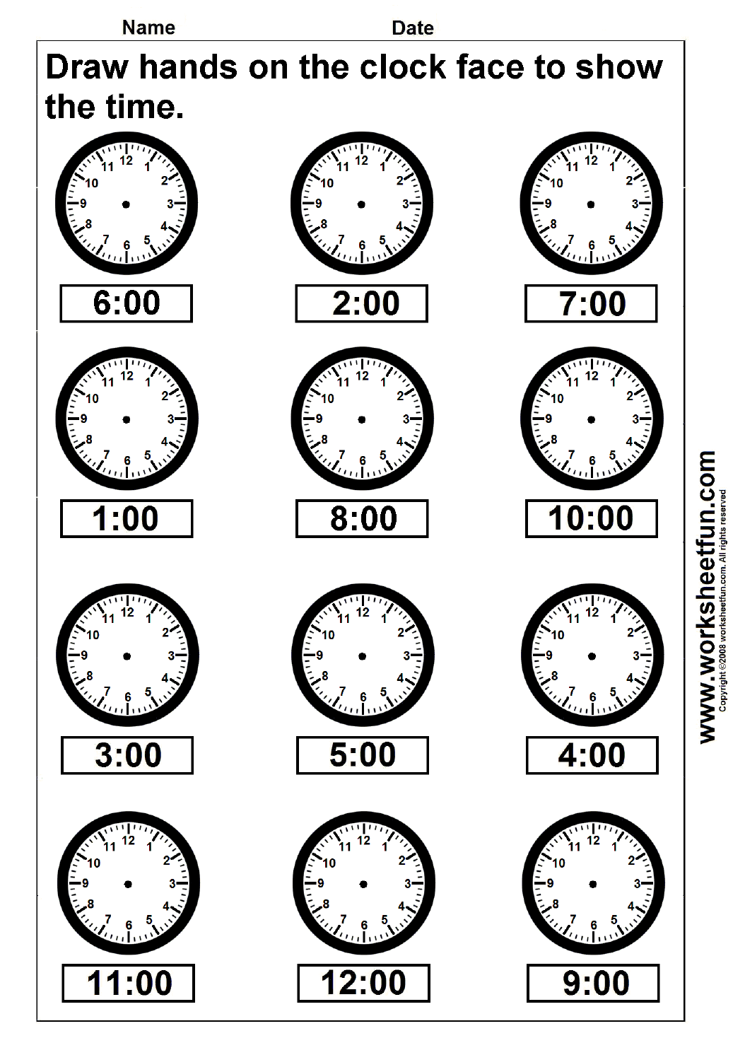 hight resolution of Time – Draw hands on the clock face – 4 Worksheets   Kindergarten worksheets  printable