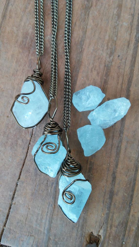 Antique bronze wire wrapped Raw Genuine Aquamarine crystal pendant on bronze chain necklace These Beautiful Raw Gemstones Are stunning with Bright