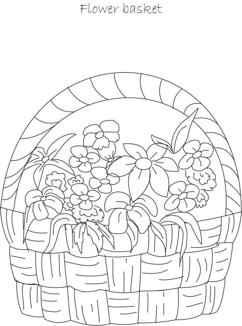 Flower Coloring Pages | Flower pot coloring printable page for kids ...