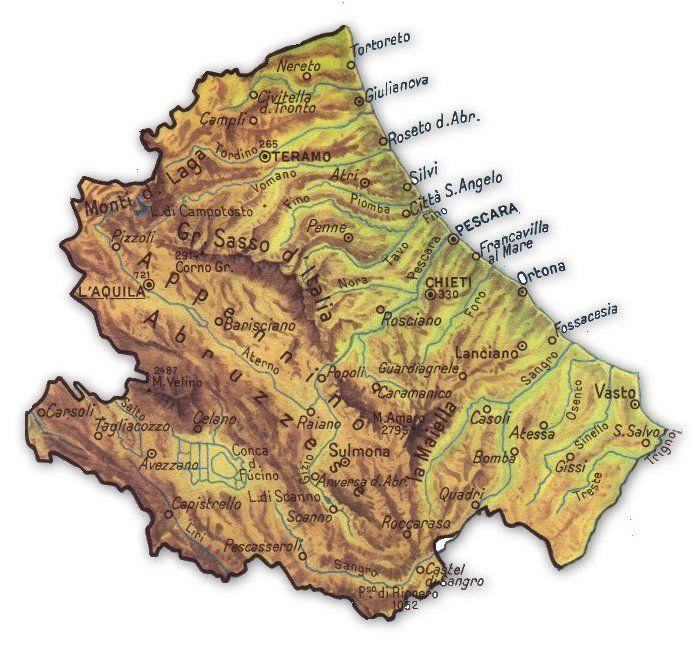Cartina Fisica Dell Abruzzo.Cartina Geografica Della Regione Abruzzo Geografia Concerti