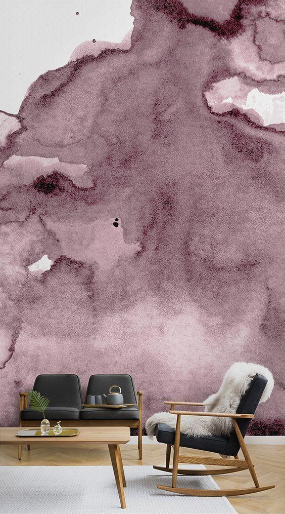 Dunkelrosa Aquarell Wandgemälde | Tapeten Wandbilder | Tapeten Wandbilder, Aquarell Wände, Tapeten