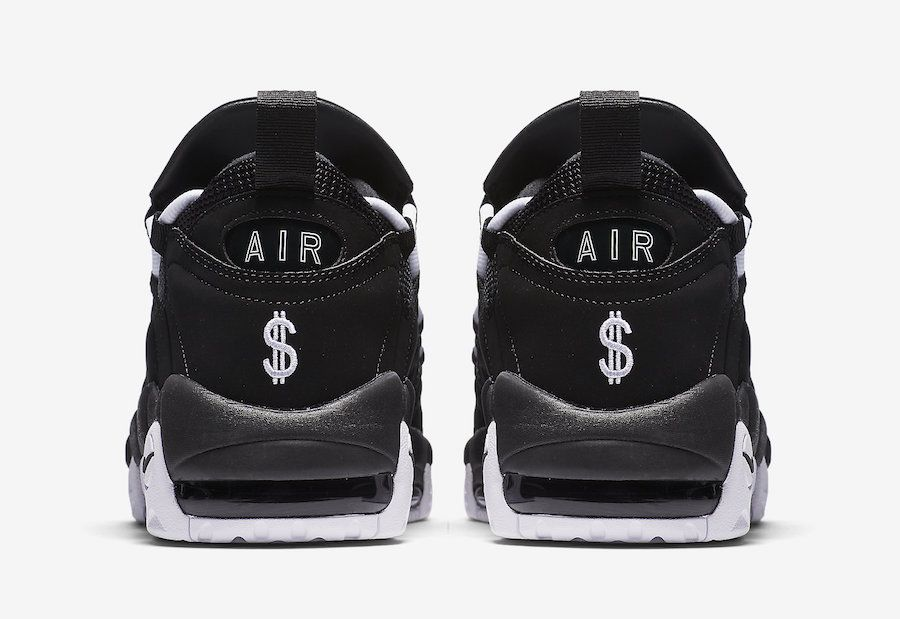 d1e91b23ea61 This Nike Air More Money sports a full Black nubuck and mesh upper paired  with White detailing. Its signature dollar sign heel logo and W..