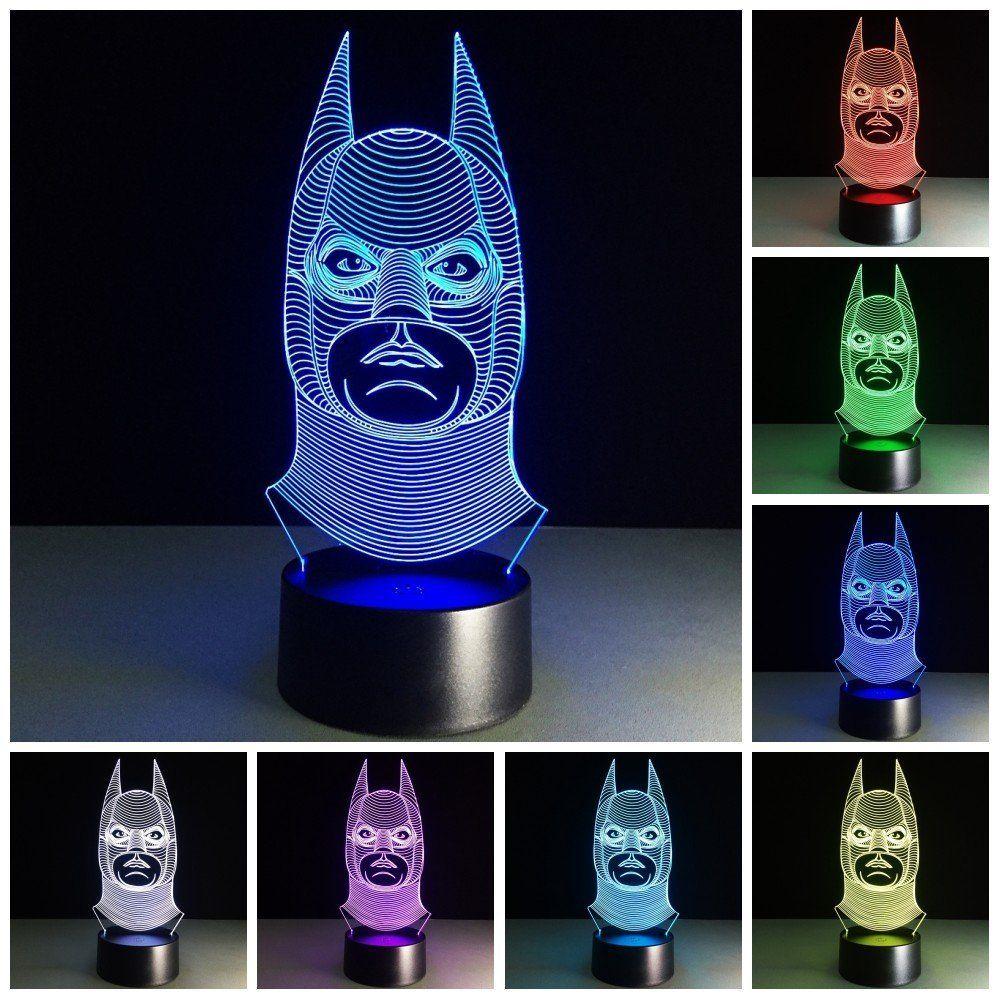 Amazing Batman Lampe, Die Auf Wunsch Die Farbe Wechselt.3D Effekt Illusion Lampen 7  Farben Led Nachtlicht Touch Schalter Schlafzimmer Schreibtisch Beleuchtung  ...