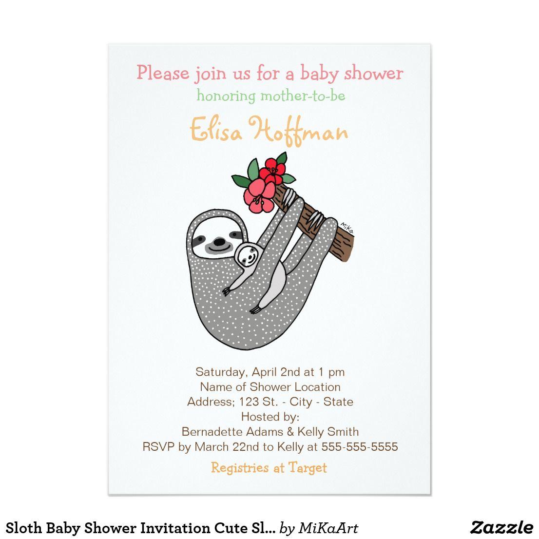 Sloth Baby Shower Invitation Cute Sloth Mom Baby Invitaciones