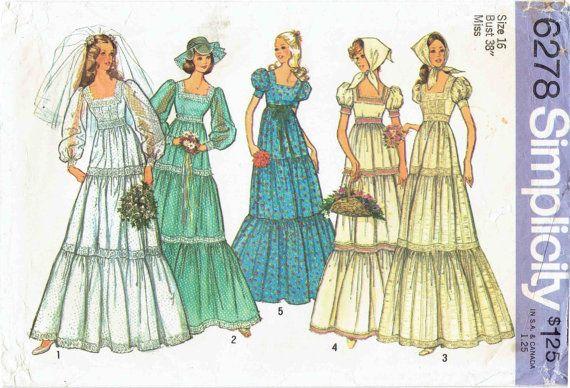 70s Boho Wedding or Bridesmaid Dress SImplicity 6278. High Waisted ...