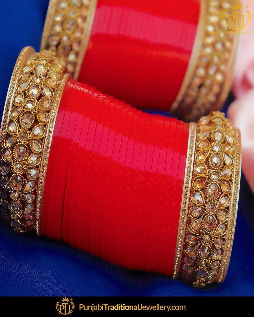 Champagne stone red bridal chura punjabi traditional