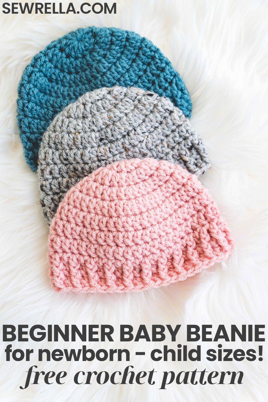 Crochet Baby Hat - free pattern & video for beginners