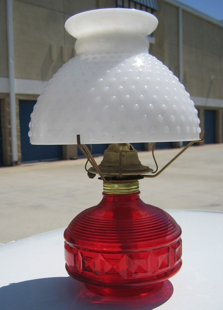 Vintage Risdon Red Hobnail Lamp Dotted White Milk Glass Shade Ruffled Top Brass US 4995 Used Office ItemsKerosene LampAntique LampsOil