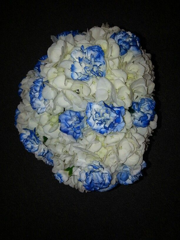 White Hydrangea And Blue Tipped Mini Carnation Bouquet