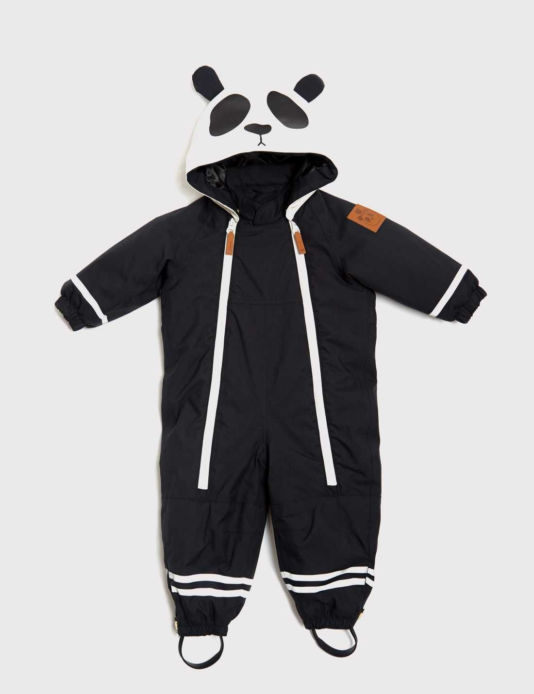 Mini rodini panda overall black