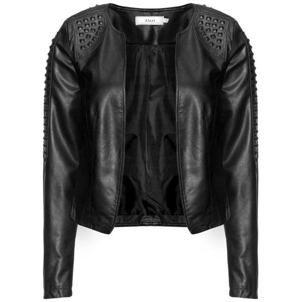 Zizzi Faux leather studded biker jacket (91 CAD) ❤ liked on Polyvore featuring outerwear, jackets, coats, coats & jackets, tops, fitted motorcycle jacket, studded jacket, faux leather moto jacket, studded moto jacket and faux leather motorcycle jacket