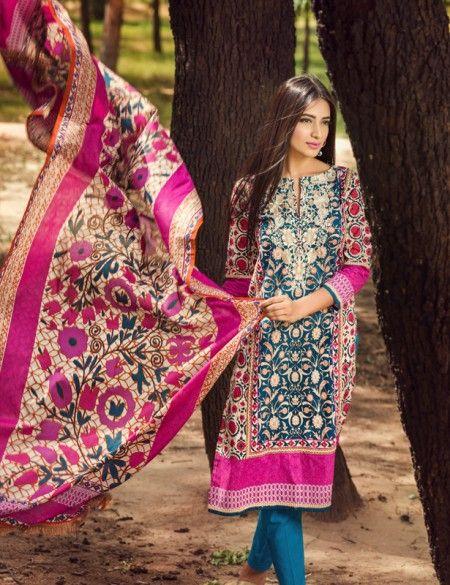 06641c11c4 Khaadi Blue Pakistani Cotton Lawn Suit With Dupatta B15535A ...