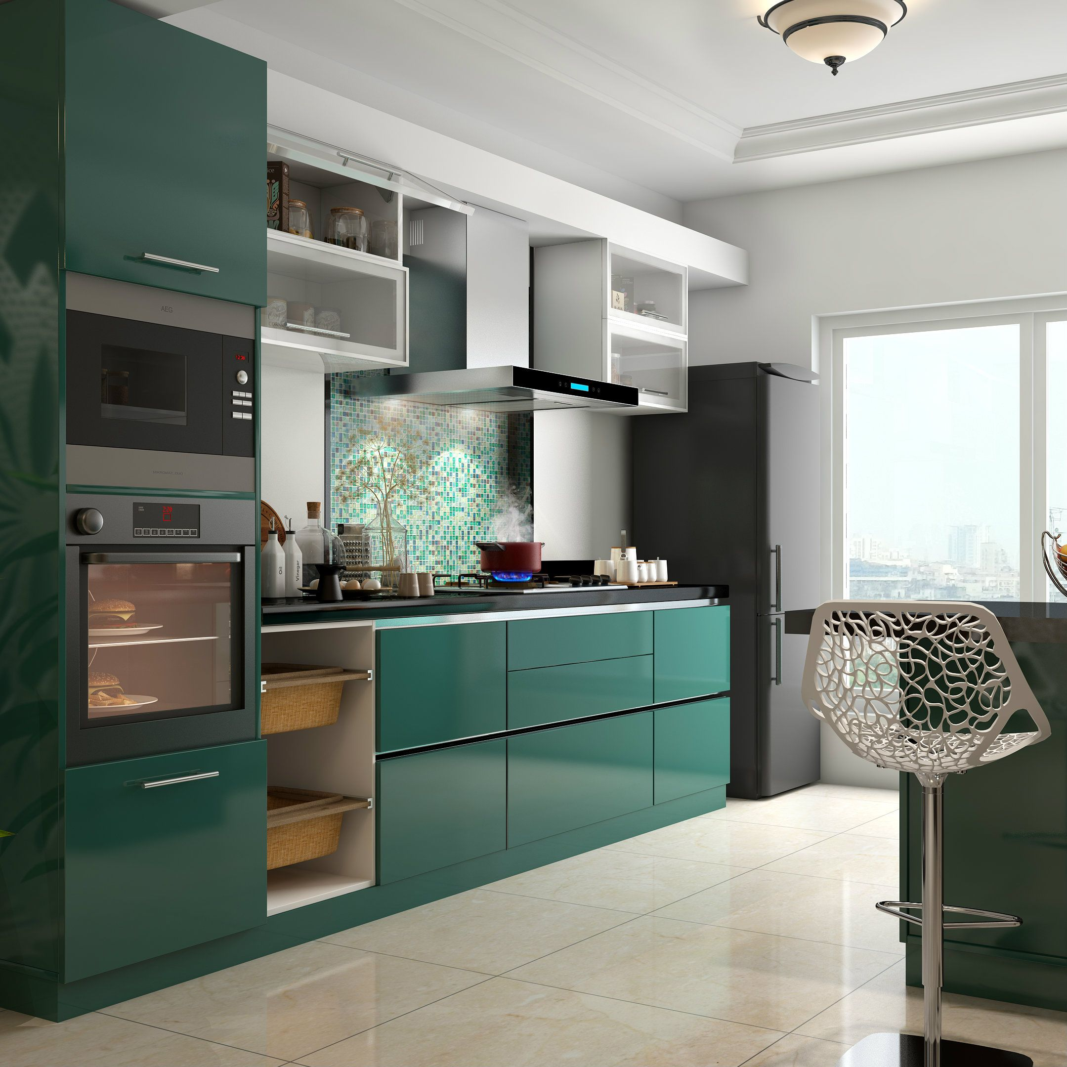 Modular Kitchen Interior Design Ideas ~ Glossy green cabinets infuse vitality to this kitchen