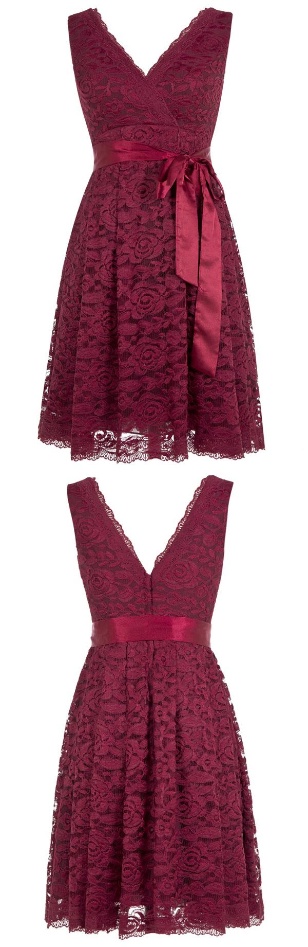 Modren A-line V-neck Short Burgundy Bridesmaid Dress With Lace ...