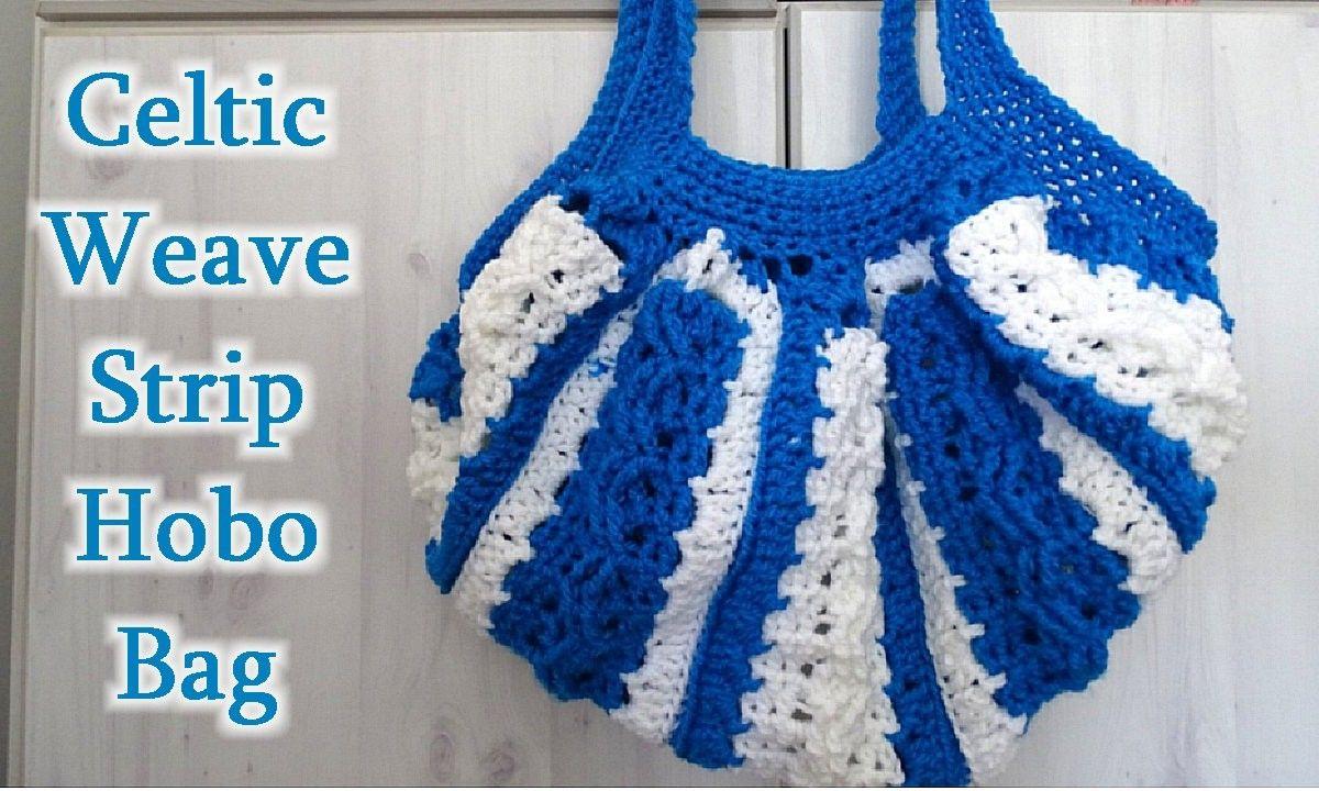 Celtic Weave strip Hobo Bag YOUTUBE pic
