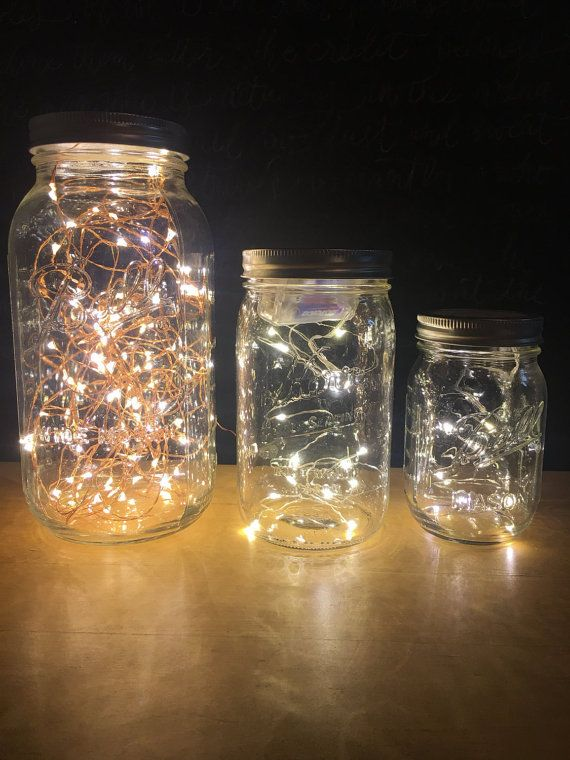 fairy light mason jar lamp firefly lights led lights decorative lights copper wire lantern. Black Bedroom Furniture Sets. Home Design Ideas