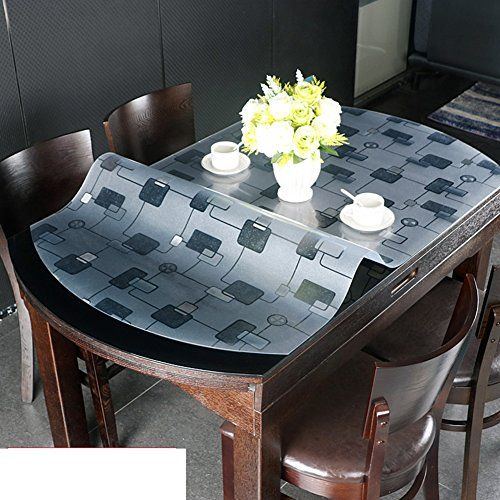 Telescopic Folding Oval Tablecloth Soft Glass Transparent Table