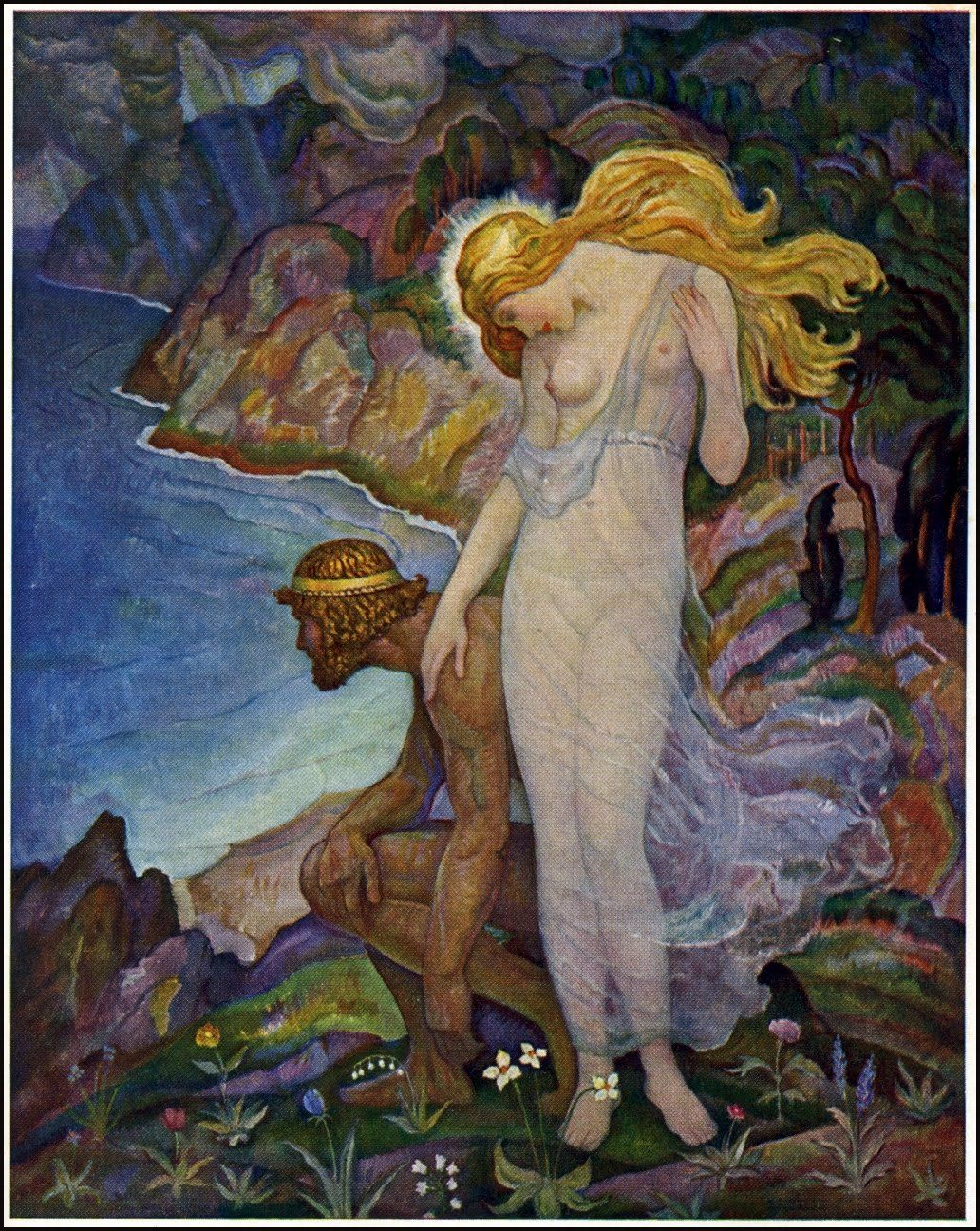 newell convers wyeth odysseus and calypso kappa alpha lambda upsilon psi  newell convers wyeth 1882 1945 odysseus and calypso kappaalphalambdaupsilonpsi974