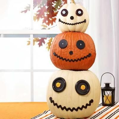 36 Easy Halloween Pumpkin Ideas Button eyes, Easy halloween and - easy halloween pumpkin ideas