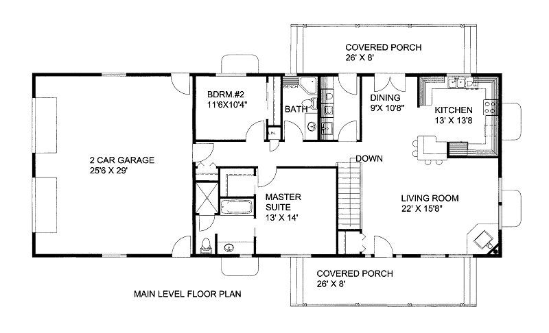 a 1500 square feet 2 batrooms 2 bedrooms 1500 square feet free house plan