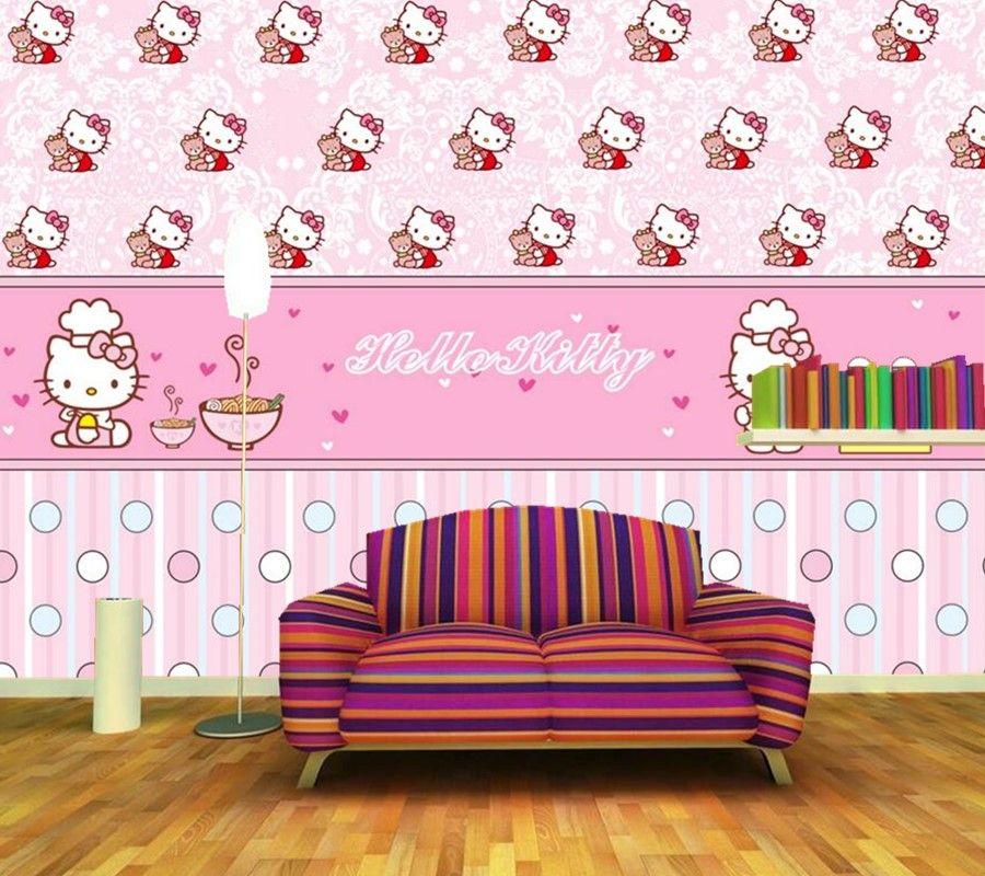 Custom papel de parede,Cute cartoon cat warm wallpaper, living room ...
