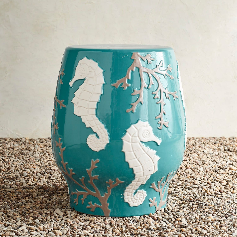 Amazing Seahorse Coral Garden Stool In 2019 Ceramic Garden Beatyapartments Chair Design Images Beatyapartmentscom