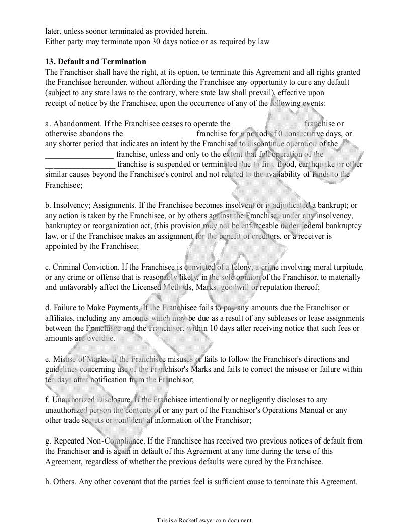 Franchise Agreement Template Franchise Contract With Sample Franchise Agreement Franchising Agreement