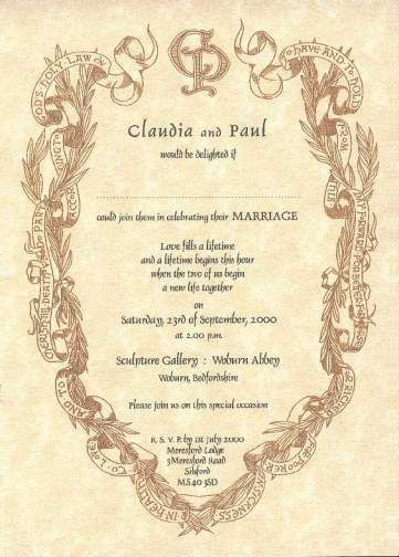 Wedding Invitation Interior In Renaissance Style Laurel