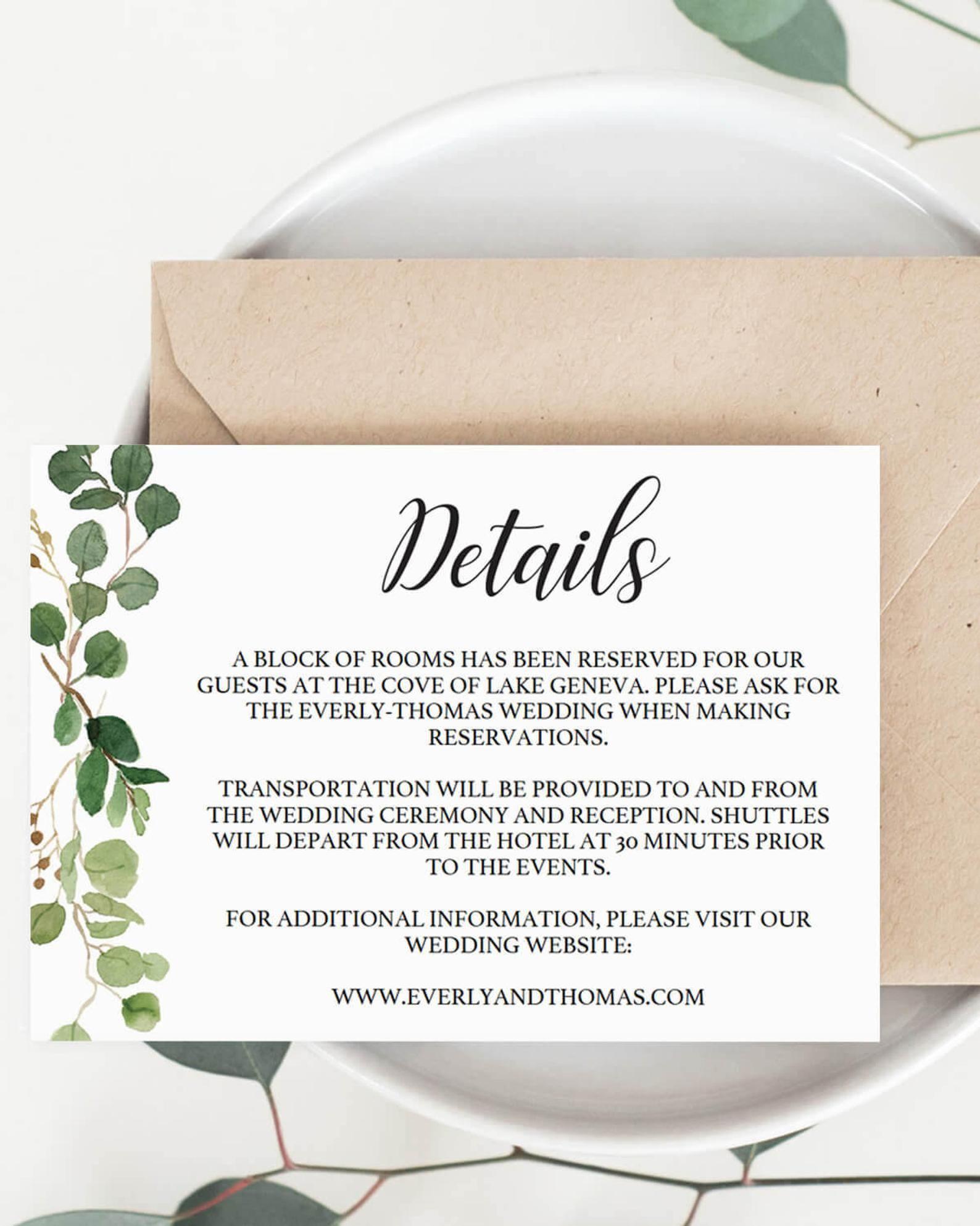 Wedding Information Card Insert Invitation Insert Cards