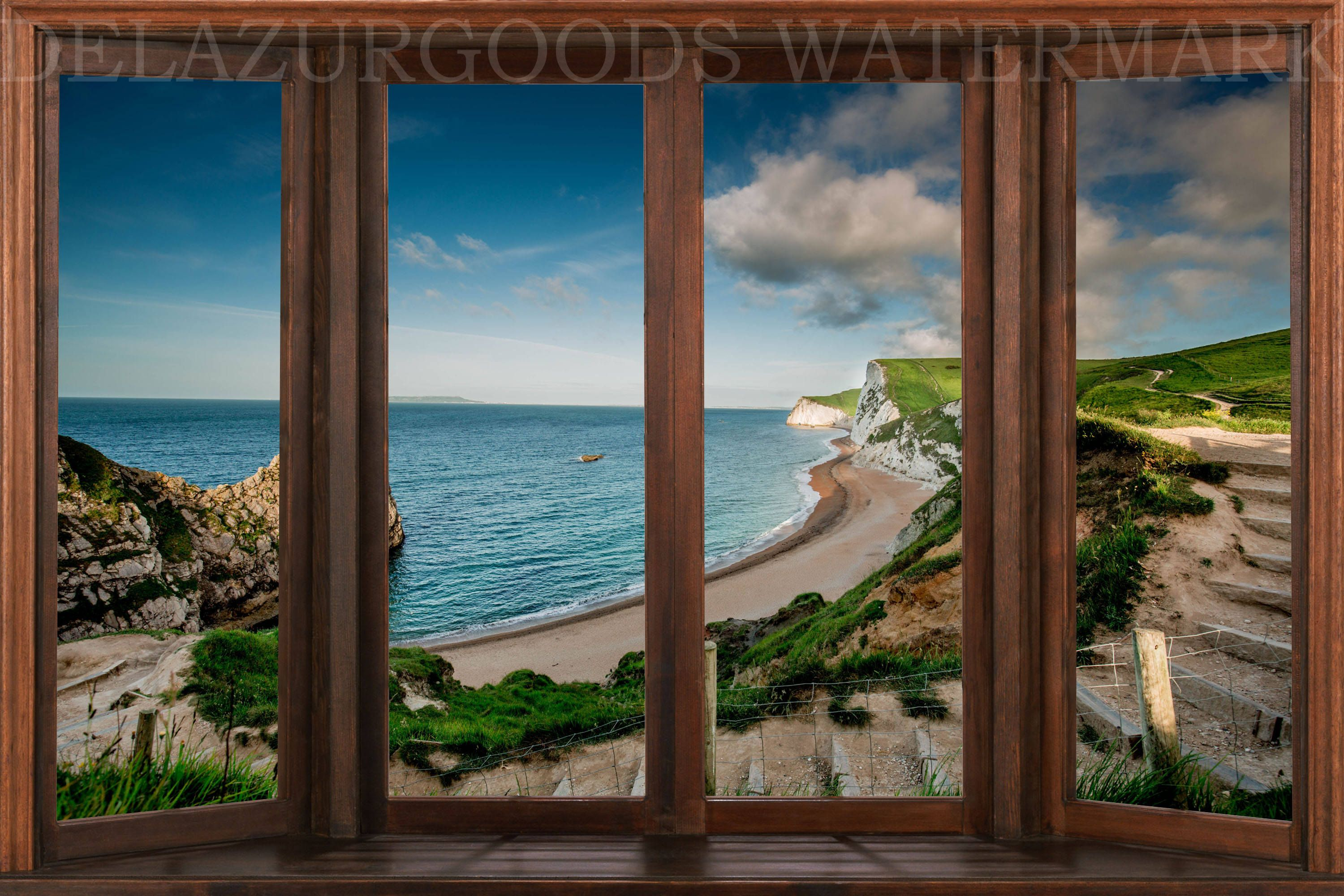 Beach House Window View Wall Decal Removable Wallpaper Peel Stick High Quality Materials Diy By Delazurgoods O Window View House Window View Wallpaper