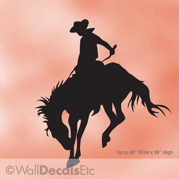 cowboy decor vinyl wall decal bucking bronco rodeo horse decal western decor animal silhouette - Cowboy Decor