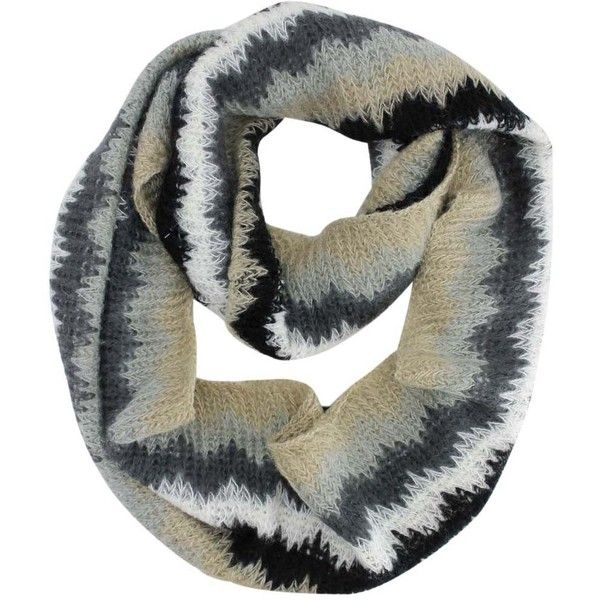 Black White Gray Zigzag Circle Scarf (59 BRL) ❤ liked on Polyvore featuring accessories, scarves, black, infinity loop scarf, gray infinity scarf, knit infinity scarf, black and white scarves and knit circle scarf