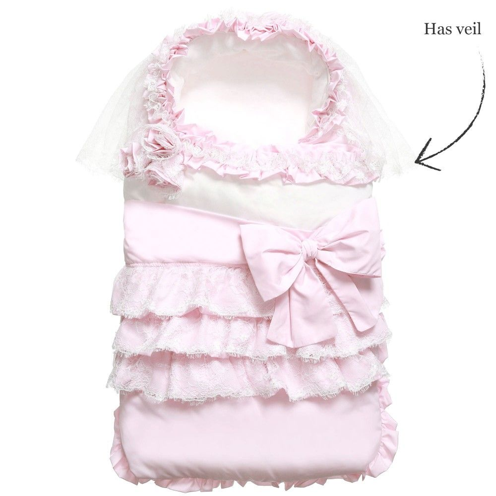 Aletta Baby Girls Pink Lace & Ruffle Nest (70cm) at Childrensalon.com