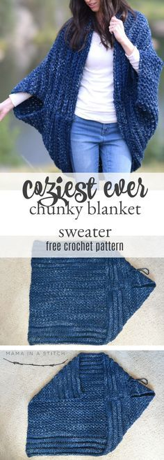 Cozy Blanket Cardigan | Rechteck, Häkelanleitung und Jacken