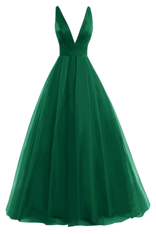 Womens chiffon deep v neck prom dress formal evening gowns dark