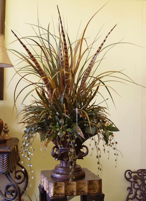 Grasses  Pheasant Feathers Floral Design NC120 10 : Floral Home Decor, Silk  Arrangements, Tuscan Decor