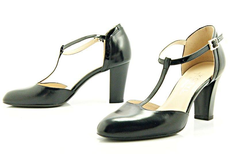 Kotyl 7063 Czarny Czarny Lakier Buty Damskie Doskonale Do Tanca Skora Naturalna Character Shoes Heels Shoes