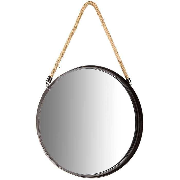 Lovely Round Metal Mirror With Rope Part - 6: Black Metal Round Mirror With Rope Hanger