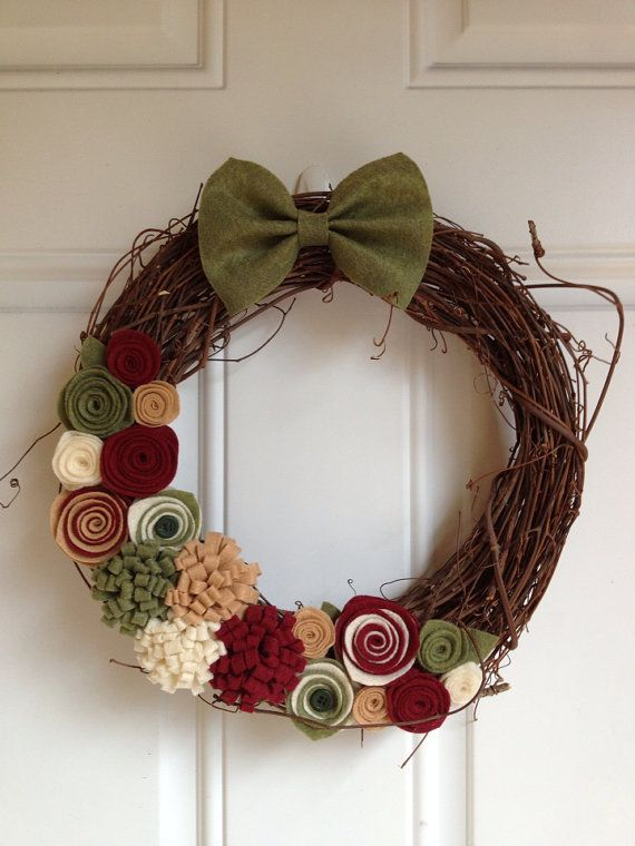 Grapevine Fall Wreath with Felt Flowers by BowsandDaggers on Etsy, $35.00