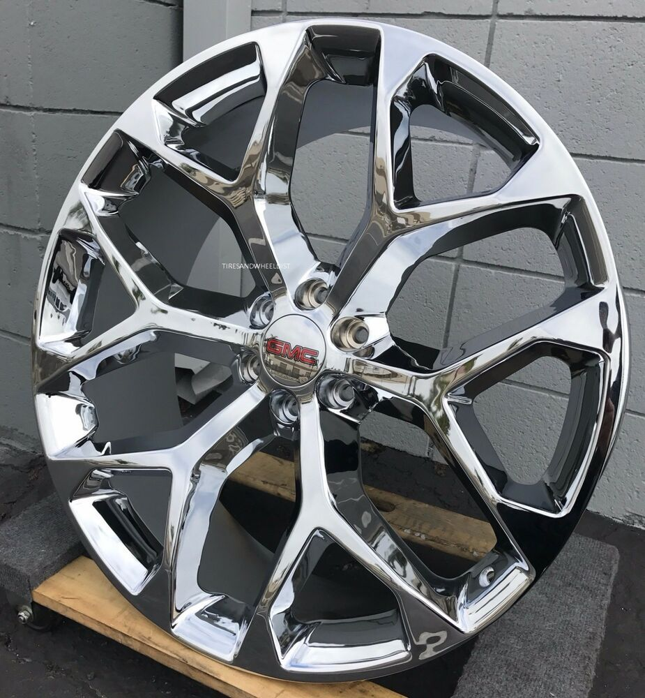 Advertisement Ebay 26 Gmc Sierra Chrome Snowflake Wheels Tires