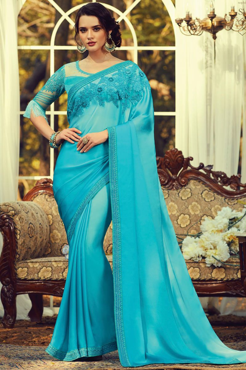 Firogi Colore Hevy Satin Silk Saree bollywood style saree party wear saree Stunning Look Exclusive Saree With Sequence Unstitch Blouse
